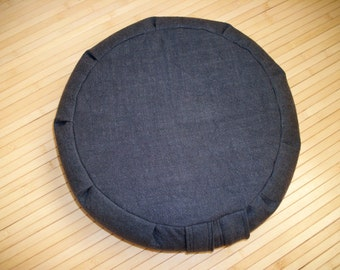 "Zafu Meditation Cushion Cover UNFILLED. Linen/blend Fabric in Charcoal. 15""x5"". 6"" L Side Zipper. Handmade, USA"