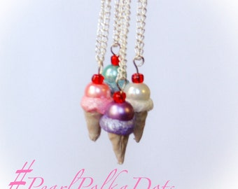 Ice Cream Necklace Kawaii Cone Pearl Pendant