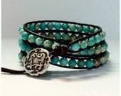 Leather Wrap Bracelet - Turquoise semi-precious Stones, Brown Leather - Artisan Boho Chic