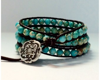 Leather Wrap Bracelet - Turquoise semi-precious Stones, Brown Leather - Artisan Boho Chic