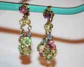 Vintage Crystal Earrings Bezel Set, Openback Crystal Earrings, Pastel Earrings, 1970s Estate  Jewelry