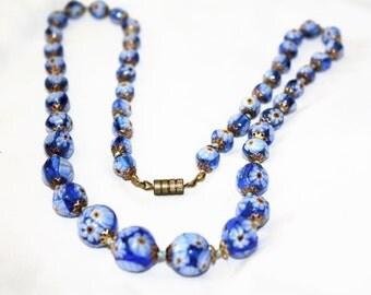 Vintage Italy Millefiori Art Glass Bead Necklace Blue 1940 Jewelry