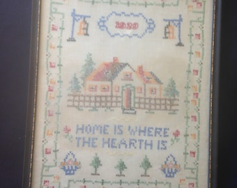 Sale Antique CROSS STITCH Needlepoint Sampler Dated/ Framed' Hand Embroidery Home is Where The HEARTH Is Art & Collectibles Textile Art