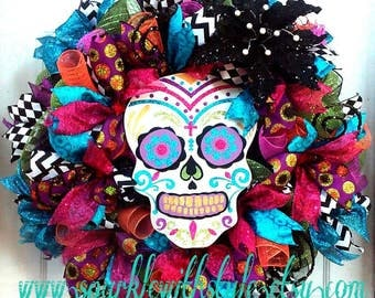 HUGE! Day of the Dead Wreath - Sugar Skull - Día de Muertos - Halloween Wreath - Day of the Dead Decor - Halloween Decoration - Door Wreath