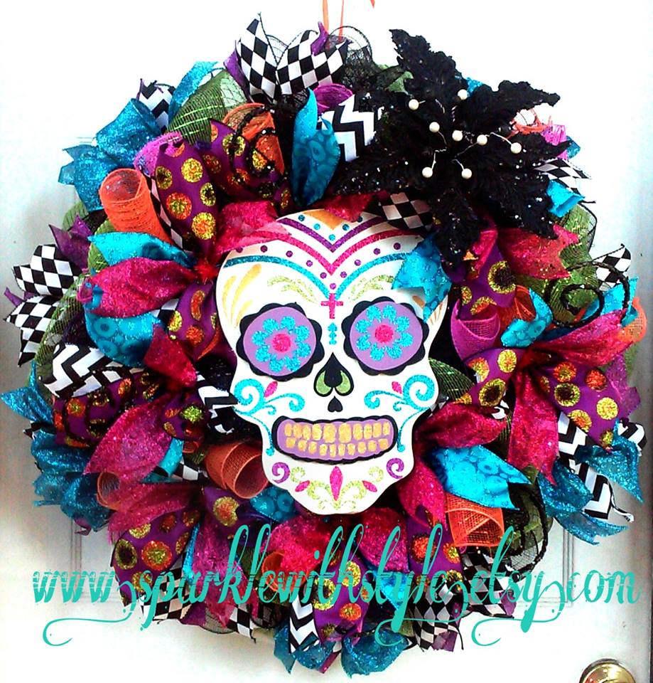 HUGE Day of the Dead Wreath Sugar Skull Día de Muertos