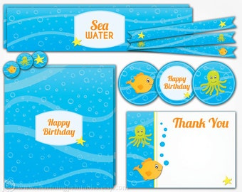 Under the Sea Party Decorations - INSTANT DOWNLOAD Boy Ocean Octopus Fish Birthday Party Printables Package