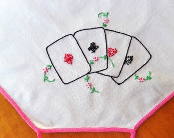 Vintage Embroidered Card Table Tablecloth