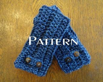 Crochet PATTERN Fingerless Gloves Button Tab Texting Mitts DIY Handwarmers