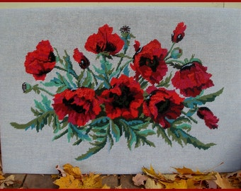 Vintage Needlepoint Red Poppy Needlepoint Picture