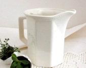 Antique White Porcelain Pitcher, White Vintage Creamer, Vintage Porcelain Ceramic Serving Pitcher  ** Epsteam