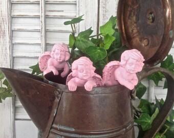 Pink Cherub Pot Hangers - Set of 3 Figurines