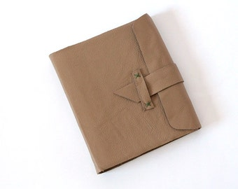 Brown Sugar Leather Journal Album with flap strap - Hefty Holds Pictures - Scrapbook
