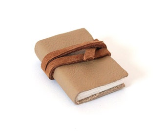Mini Tiny Small Leather Strap Book - Palm Size Tan Brown Book with Vintage Map