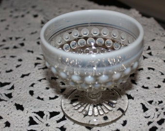 A Pair of White Hobnail Dessert Cups