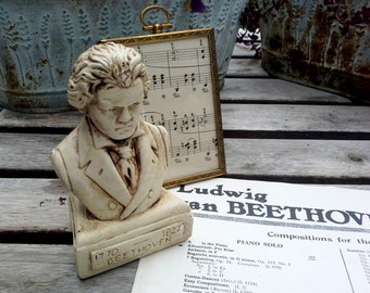 Ludwig van Beethoven, Classical Composer bust, aged and distressed for the classical music lover, teacher, grad student, musical gift idea