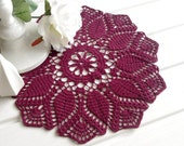 Burgundy crochet doily Crocheted doilies Home decor Table embelishment Red wine color doily 12 inches 12""
