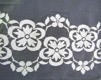 """Vintage White Lace Curtain Panels  (2)  73"""" w x 65"""" l"""