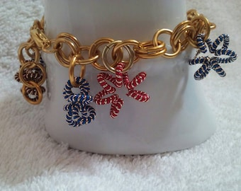 Gold Chainmaille Bracelet With Colorful Star Charms