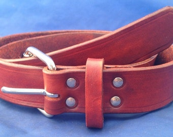 Natural Veg Tan Real Leather 1 inch wide 3-3.5mm thick Belt Choice of Buckle, Colour Handmade
