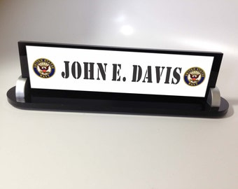 Military Name Plate, Air Force, AF, Navy, USN, Marine, USMC, Army, desk name plate