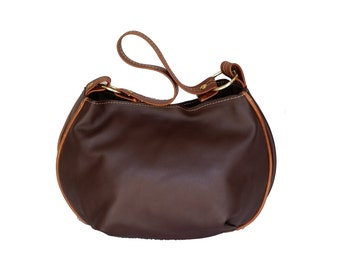 Chocolate brown leather bag - hobo purse - slouchy bag - rustic shoulder handbag - adriana