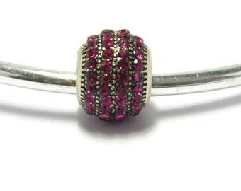 Purple Crystal Bead for European Style Charm Bracelet.