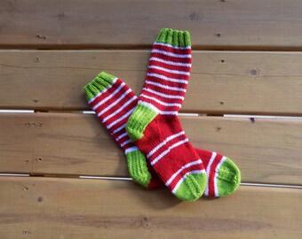 Hand Knit White/Red/Green Socks