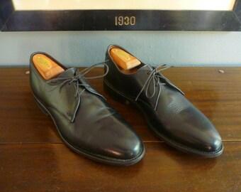CLASSIC Vintage Allen Edmonds Lambert Black Leather Plain Toe Bluchers PTB Oxford Dress Shoes Size 8 D. Made in USA.