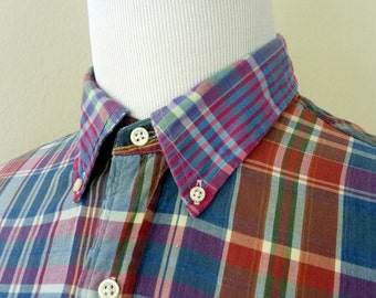 Vintage POLO by Ralph Lauren 100% Cotton Indian Madras Multicolored Plaid Trad / Ivy League Casual S/S Shirt Size L 16 1/2.  Made in India.
