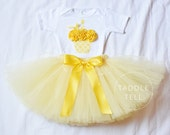 YELLOW DAMASK Birthday Girl Set - 3d Cupcake Onesie and Tutu Skirt - 1st 2nd 3rd 4th 5th Birthday