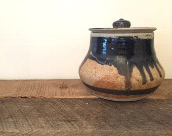 Vintage Ceramic Pot with Lid / Vintage Pottery