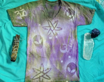 ON SALE // Cosmic Spirit Galactic Guidance Tshirt Small Men's // Womens Upcycled Tie Dye OM //Aliens