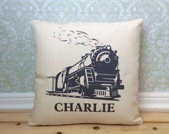 Train Pillow Cover, Locomotive Pillow, Railroad Decor, Railroad Theme, Train Decor, Train Theme