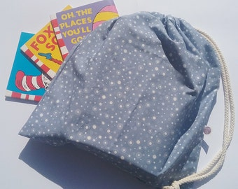 Large Drawstring Bag | Library Bag | Toy Bag | Steel Blue Circles