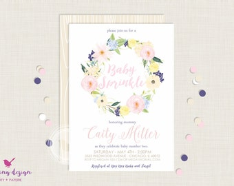 Floral Wreath Baby Sprinkle Invitation Set // Gender Neutral // Personalized,  Printable, Thank You Cards, Address Labels,