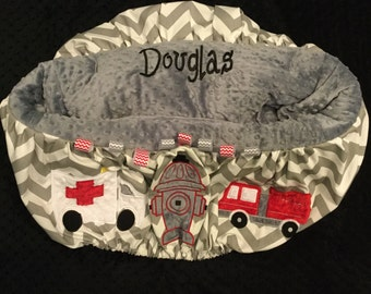 Grey Chevron Firetruck Shopping Cart cover or highchair cover
