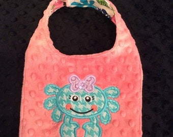 Coral and Turquoise Crab Bib