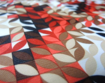 Vintage knit polyester fabric abstract leaves 2 yards 9 inches 64 inches wide