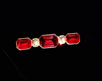 Gorgeous Vintage Authentic Signed Yves Saint Laurent Swarovski Crystal Red & Clear Brooch, Pin