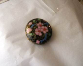 """2 cloisonne black and foral large beads approx 2"""" - a little under"""