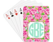 Caroline Monogram Personalized Playing Cards | Preppy Floral | Pink Roses