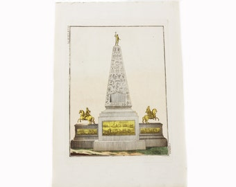 Antique Handcolored Print 1790 Bertuch Extraordinary Architecture  From the Book Wonders of the World-An Obelisk