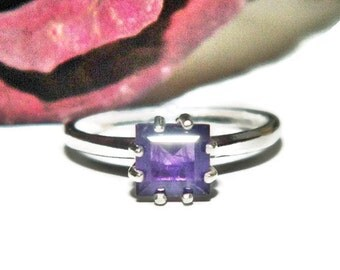 Natural Amethyst Ring, February Birthstone Ring, Sterling Silver Amethyst Ring, Square Stone Ring