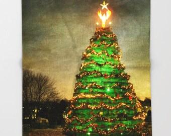Fleece Throw Blanket, Lobster Trap Christmas Tree, Photo Throw Blanket, Home Decor, Bedding, Sherpa Throw, Photography