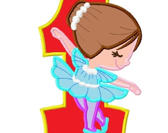 Ballerina Number One 1 Applique Embroidery Design    INSTANT DOWNLOAD