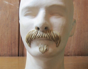 Male Mannequin Bust with Facial Hair - Pottery Art Mannequin Head Sculpture - Clay Mannequin Man's Face Mustache Goatee - Objet d'Art Face