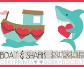 Valentine SVG Cutting Files, Love Boat and Shark with Heart -For Cutting Machines - svg, mtc, jpg, studio 3, and dxf files