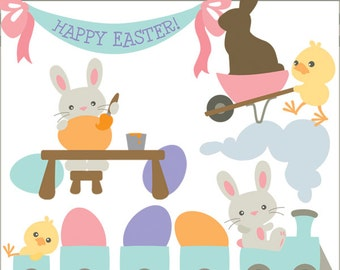 Easter Clip Art Bunny Scenes -Personal and Limited Commercial Use- spring clipart, Easter Bunny Clipart
