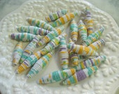 Paper Beads, Green, Purple and Orange Paper Bead, Recycled Paper, Rolled Paper Bead, Supplies, Paper Bead Jewelry, Biscone