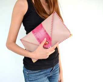 Fuchsia and pastel leather clutch / Handmade leather bag / Genuine snakeskin